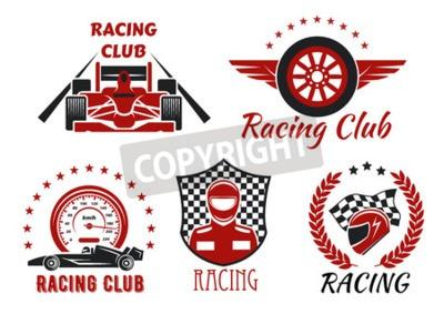Obraz Závodní klubové a motorsportové soutěže se symboly s otevřenými kolovými závodními vozy, závodníkem, ochrannou přilbou a křídlovým kolem, rámovaný rychloměrem, závodní vlajkou, kostkovaným štítem, vav