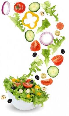 Obraz Zdravé vegetariánské jídlo salát s rajčaty, okurkou, cibulí a Pa