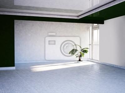 zelená rostlina v blízkosti okna, 3d