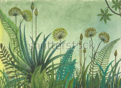 Obraz Zelená tráva roste v džungli. ilustrace malované akvarely