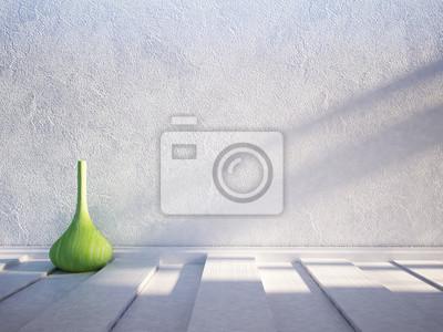 zelená váza na dřevěné podlaze, 3d