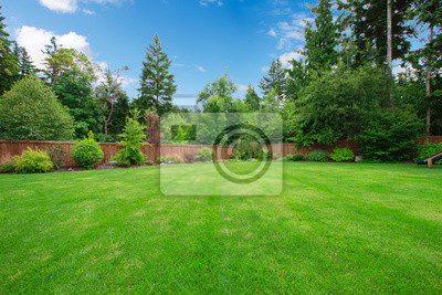Obraz Zelená velký oplocený dvorek se stromy.