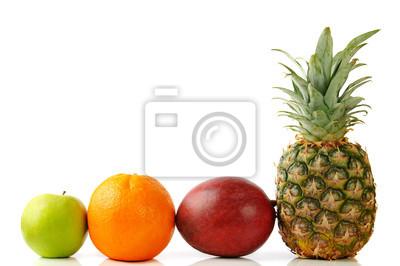 zelené jablko pomeranč, ananas a mango
