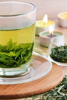 Obraz Zelený čaj a svíčky