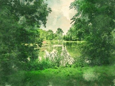 Obraz Zelený park a jezero v Amsterdamu. Vodové barvy. Olejový vzhled.