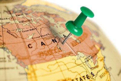 Obraz Zelený pin na mapě.