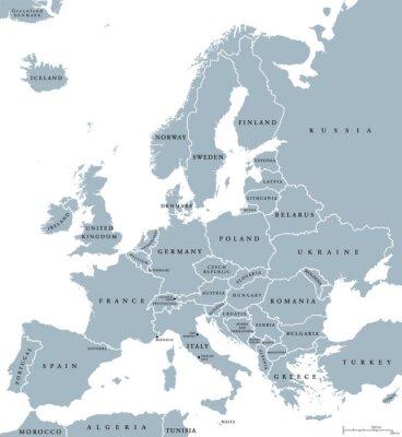 Obraz Země Evropa politická mapa s národní hranice a názvy zemí. Angličtina označování a škálování. Ilustrace na bílém pozadí.
