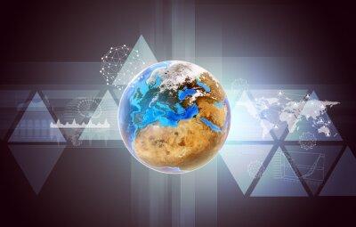 Obraz Země s mapou světa