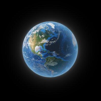 Obraz Země z vesmíru zobrazující Severní a Jižní Ameriku