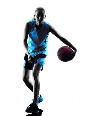 Obraz Žena basketbalový hráč silueta