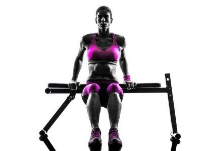 Obraz žena fitness push-up cvičení siluetu