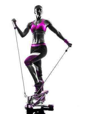 Obraz žena fitness stepper silueta