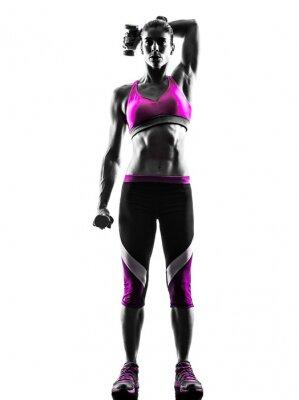 Obraz Žena Fitness závaží cvičení siluetu