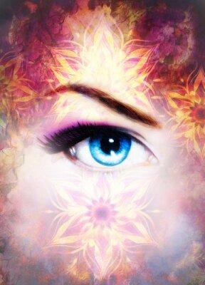 Obraz Žena oko a mandala, abstraktní barvu pozadí a poušť praskání.