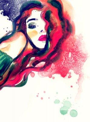 Obraz žena, portrét, abstraktní akvarel pozadí .fashion