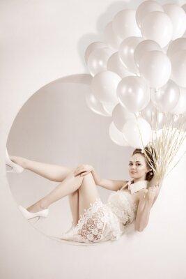 Obraz Žena s balónky v ruce