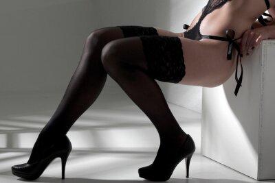 Obraz Žena sexy nohy punčochy show