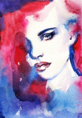 Obraz Žena tvář. Ručně malované módní ilustrační