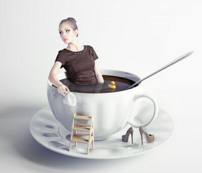 Obraz žena v šálku kávy