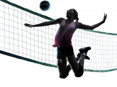 Obraz Žena volejbalisté samostatný silueta