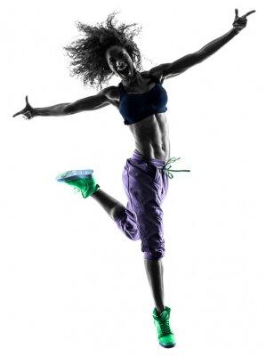 Obraz žena zumba tanečník tančících cvičení siluetu