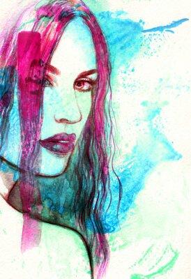 Obraz Ženská tvář. Abstraktní akvarel ilustrační
