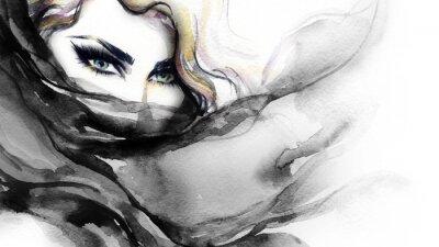 Obraz Ženská tvář. Módní ilustrace. akvarelu