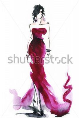 Obraz ženy s elegantními šaty. Abstraktní akvarel. Módní pozadí