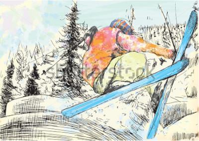 Obraz Zimní dovolená - lyžař. Vektorové několik vrstevnaté dětské ilustrace. Nejlépe čtyři vrstvy v obrázku. Barevné vrstvy mají velkou šestnáct barev. Černé obrysy ve speciální vrstvě.