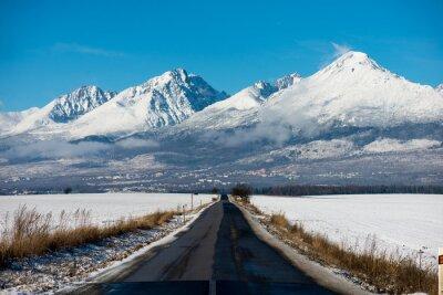 Obraz Zimní jízda - Zimní Road Země silnici vedoucí přes zimní horské krajiny.