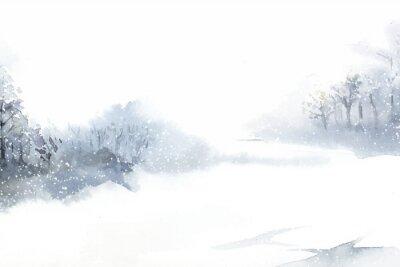Obraz Zimní krajina divů malované akvarelem vektoru
