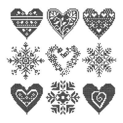 Obraz zimní láska bezešvé černé srdce set