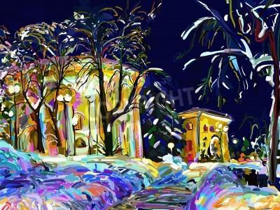 Obraz zimní noci panoráma města digitální obraz