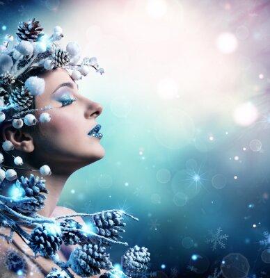 Obraz Zimní žena portrét - krása modelka dívka s zasněžené dekorace