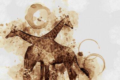 Obraz Žirafa. Digitální umění Káva skvrny lapal po dechu.