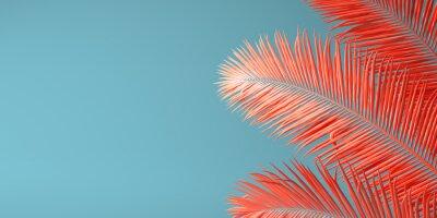 Obraz Živá barva korálu roku 2019. Pozadí s dlaní v moderní barvě