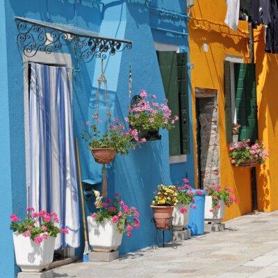 Obraz živé malované domy v obci Burano, Benátky