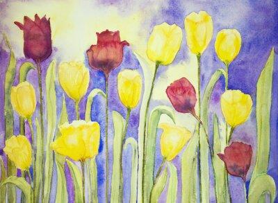 Obraz Žluté a červené tulipány na lila a žluté pozadí. Poklepáváním technika je u okrajů dává změkčující účinek v důsledku drsnosti změněné povrchu papíru.