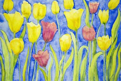 Obraz Žluté a červené tulipány na modrém pozadí. Poklepáváním technika je u okrajů dává změkčující účinek v důsledku drsnosti změněné povrchu papíru.