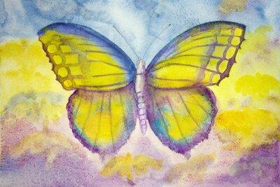 Obraz Žluté a modré motýl. Poklepáváním technika poskytuje změkčující účinek v důsledku drsnosti změněné povrchu papíru.