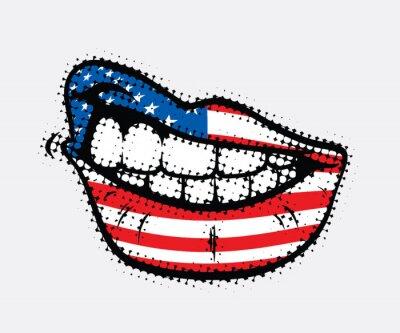 Obraz Zvlněné rty s USA vlajkou