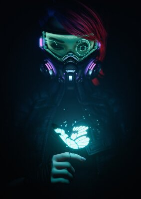 Plakát 3d illustration of a cyberpunk girl in futuristic gas mask with protective green glasses and filters in jacket looking at the glowing butterfly landed on her finger in a night scene with air pollution