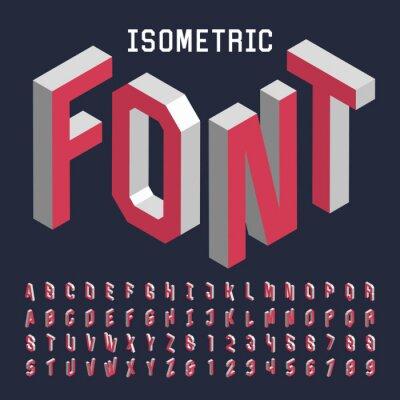 Plakát 3d izometrický abeceda vektorové písmo. Izometrický písmena, čísla a symboly. Trojrozměrné vektorový typografie pro titulky, plakáty atd.