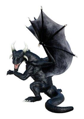 Plakát 3D Rendering Fairy Tale Dragon on White
