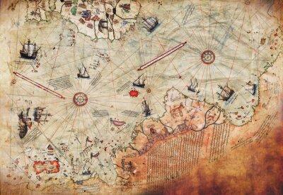 Plakát 3D Wallpaper design with an old ship of piri reis map for mural print