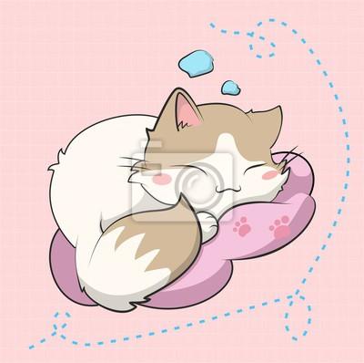 Plakát A cute cat sleeping, este gatito esta inspirado en un sticker
