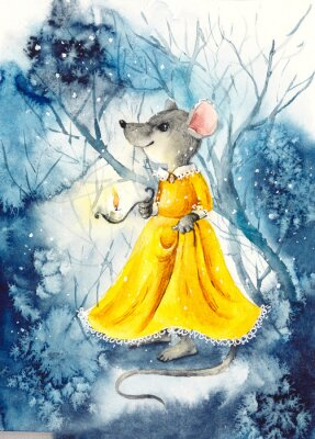 Plakát A mouse with a lantern in a yellow dress. Watercolor hand drawn illustration