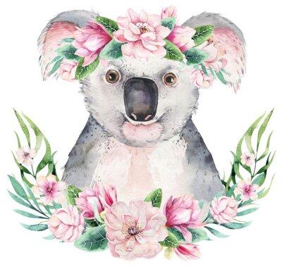 Plakát A poster with a koala. Watercolor cartoon koala tropical animal illustration. Jungle exotic summer print.