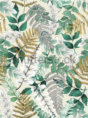 Plakát A seamless representation of watercolor leaves on a yellow background