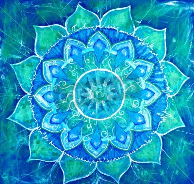 Plakát abstract blue malovaný obraz s kruhů, mandala z Višuddha čakry
